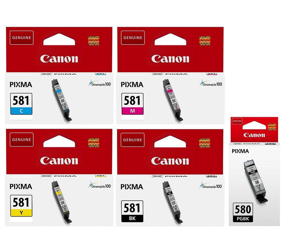 2078C005 - Genuine Canon PGI-580/CLI-581 5.6ml 11.2ml Black, Cyan, Magenta, Yellow ink cartridge set (5 Inks)