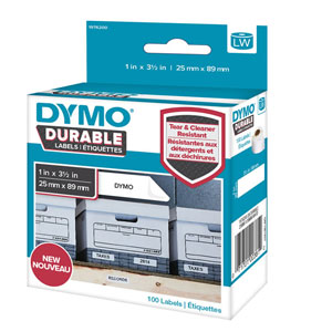 1976200 - Dymo 1976200 LabelWriter Durable Shelving labels, 25mm x 89mm - Black on White - 100 Labels