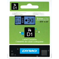 S0720710 - Dymo 9mm Black on Blue Tape x 7m - (legacy code-40916