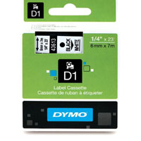 S0720780 - Dymo 6mm Black on White Tape x 7m - (legacy code-43613)