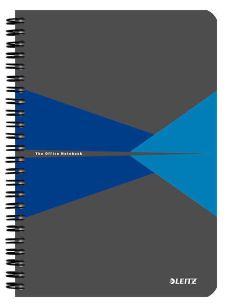 46480035 - Leitz Office Notebook A4 ruled, wirebound with cardboard cover, Pack of 5 Blue Note Books