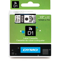 S0720500 - Dymo 12mm Black on Clear Tape x 7m - (legacy code-45010)