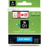 S0720520 - Dymo 12mm Red on Clear Tape x 7m - (legacy code-45012)