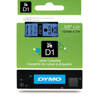S0720560 - Dymo 12mm Black on Blue Tape x 7m - (legacy code-45016)