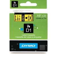 S0720580 - Dymo 12mm Black on Yellow Tape x 7m - (legacy code-45018)