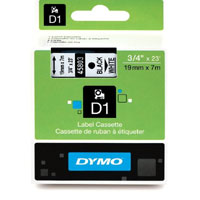 S0720830 - Dymo 19mm Black on White Tape x 7m - (legacy code-45803)