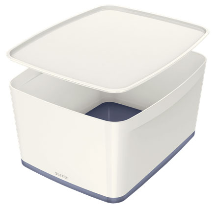 52164001 - MyBox 18 Litre Large Storage Box with Lid. Pack of 4 White & Grey Boxes * Free Delivery *