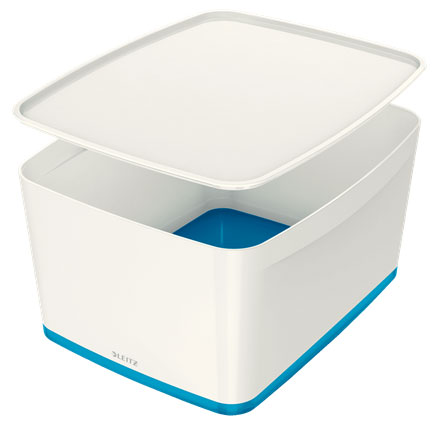 52164036 - MyBox 18 Litre Large Storage Box with Lid. Pack of 4 White & Blue Boxes with Free Delivery