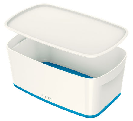 52291036 - MyBox - 5 Litre Small Storage Box with Lid - White & Blue, 318 x 128 x 191mm * Free Delivery *