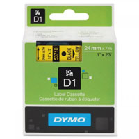 S0720980 - Dymo 24mm Black on Yellow Tape x 7m - (legacy code-53718)