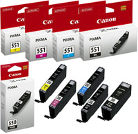 Ink 100 Offer - Set of 5 Canon Cli-551 Inks - Cyan, Magenta, Yellow, Black, & PGI-550 <PGBK>
