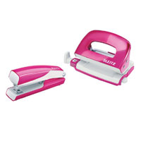 5561-20-23 - Leitz Wow NeXXt Series Metal Mini Stapler and Hole Punch Set - Pink
