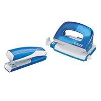 5561-20-36 - Esselte Leitz Wow NeXXt Series Metal Mini Stapler and Hole Punch Set - Blue