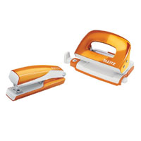5561-20-44 - Esselte Leitz Wow NeXXt Series Metal Mini Stapler and Hole Punch Set - Orange