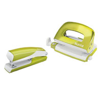 5561-20-64 - Esselte Leitz Wow NeXXt Series Metal Mini Stapler and Hole Punch Set - Lime Green