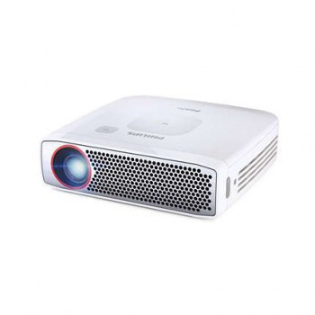 253621387 - Philips PPX4835 Portable Projector 350ANSI Lumens DLP 720p (1280x720) Metallic, White Data Projector