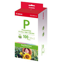 "1335B001 - Canon Easy Photo Pack E-P100 Ink/Paper Set, 4 X 6"" (100 X 148mm) Postcard Size 100 Prints"