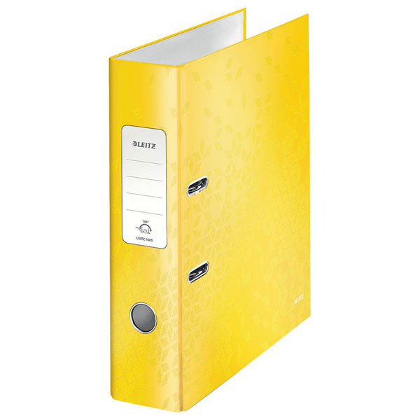 1005-00-16 - Leitz WOW Yellow wide spine lever arch file - Box of 10 - A4 Format