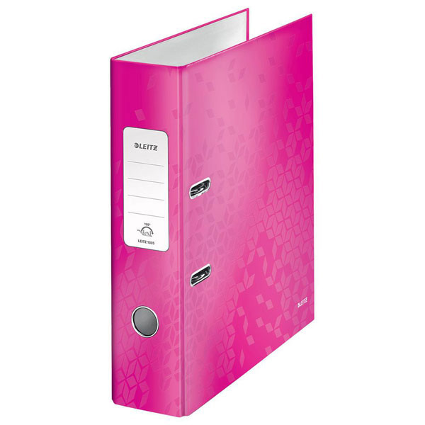 1005-00-23 - Leitz WOW Pink wide spine lever arch file - Box of 10 - A4 Format
