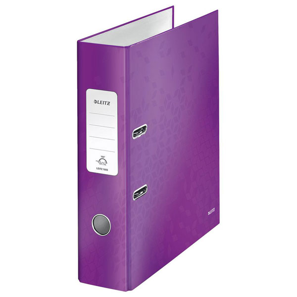 1005-00-62 - Leitz WOW Purple wide spine lever arch file - Box of 10 - A4 Format