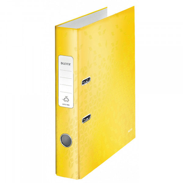 1006-00-16 - Leitz WOW Yellow narrow spine lever arch file - Box of 10 - A4 Format