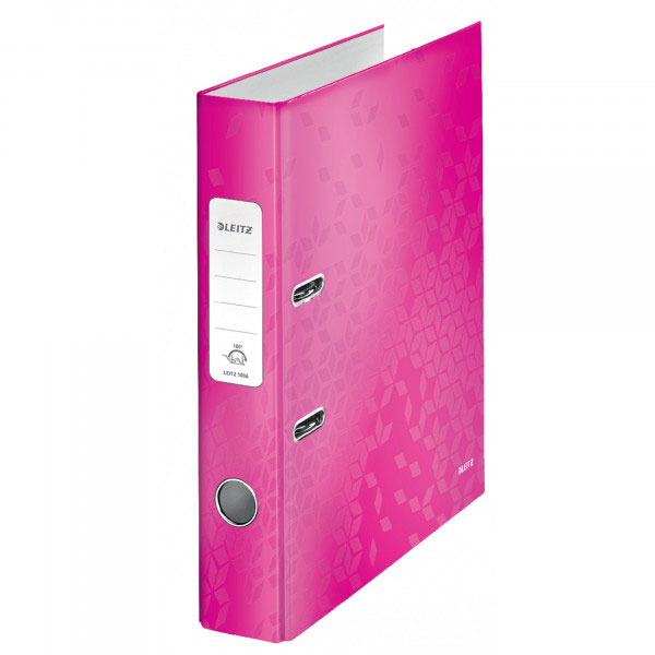 1006-00-23 - Leitz WOW Pink narrow spine lever arch file - Box of 10 - A4 Format