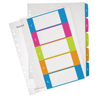 1241-00-00 - Leitz WOW Printable Index 1 - 5 numerical tabs, PP, extra wide A4 Maxi format