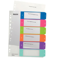 1242-00-00 - Leitz WOW Printable Index 1 - 6 numerical tabs, PP, extra wide A4 Maxi format