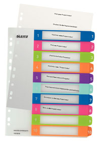 1243-00-00 - Leitz WOW Printable Index 1 - 10 numerical tabs, PP, extra wide A4 Maxi format