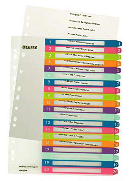 1245-00-00 - Leitz WOW Printable Index 1 - 20 numerical tabs, PP, extra wide A4 Maxi format