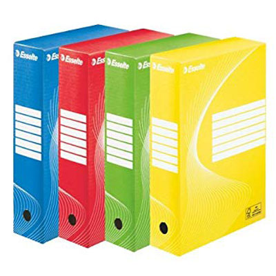 128403 - Esselte Standard Archiving Box 80 - Pack of 10, Assorted Colours