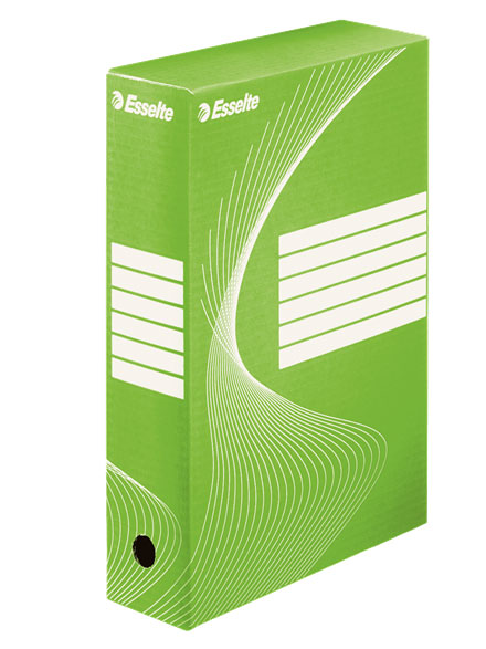 128414 - Esselte Standard Archiving Box 80 - Pack of 25  Green 80mm Storage Boxes