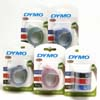 S0847750 - Dymo Red - Blue - Black Embossing Tape 9mm x 3m Triple Pack