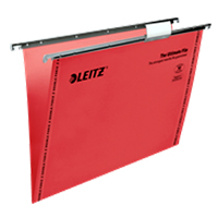 1744-00-25 - Leitz Red Ultimate Clenched Bar Suspension File, Box of 50 - V Base, 150 Sheet Capacity