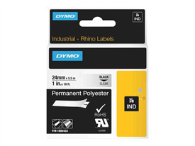 1805433 - Dymo RHINO Black Print on Clear Permanent Polyester 24mm x 5.5m Tape