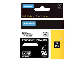 1805440 - Dymo RHINO Black Print on Clear Permanent Polyester Tape 6mm x 5.5m