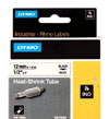 S0718300 - Dymo RHINO Black Print on White Heat Shrink Tube 12mm x 1.5m - (legacy code-18055)