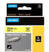 S0718310 - Dymo RHINO Black Print on Yellow Heat Shrink Tube 12mm x 1.5m - (legacy code-18056)