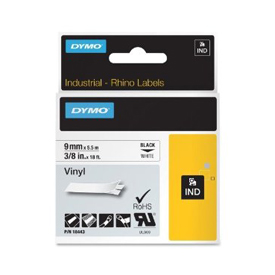 S0718580 - Dymo RHINO Black Print on White Coloured Vinyl Tape 9mm x 5.5m - (legacy code-18443)