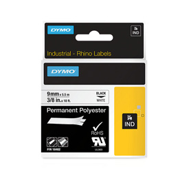 S0718240 - Dymo RHINO Black Print on White Permanent Polyester Tape 9mm x 5.5m