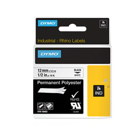 S0718210 - Dymo RHINO Black Print on White Permanent Polyester Tape 12mm x 5.5m - (legacy code-18764)