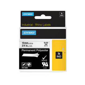 S0718220 - Dymo RHINO Black Print on White Permanent Polyester Tape 19mm x 5.5m - (legacy code-18765)