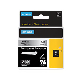 S0718170 - Dymo RHINO Black Print on Metalized Permanent Polyester Tape 9mm x 5.5m - (legacy code-18760)