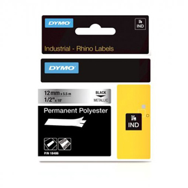 S0718180 - Dymo RHINO Black Print on Metalized Permanent Polyester Tape 12mm x 5.5m - (legacy code-18761)