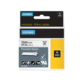 S0718120 - Dymo RHINO Black Print on White Flexible Nylon Tape 19mm x 3.5m - (legacy code-18759)