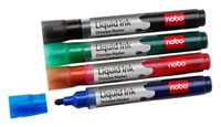 1901074 - Nobo Liquid Ink Drymarkers, Pack of 12 Red Dry Marker Pens
