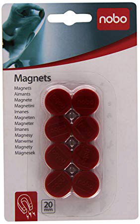 1901442 - Nobo Red Magnets, 20mm - Blister Pack of 8