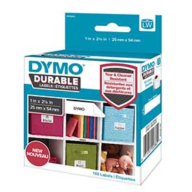 1976411 - Dymo 1976411 LabelWriter Durable Small Multi Purpose Labels, 25mm x 54mm - Black on White - 160 Labe
