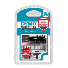 1978365 - Dymo 1978365 D1 Durable 12mm x 3M Tape - White on Black
