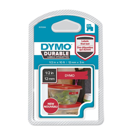 1978366 - Dymo 1978366 D1 Durable 12mm x 3M Tape - White on Red